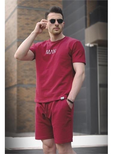 Oksit Brice Man Düz Nakış İşlemeli Slim Fit Şort Tshirt Takım Bordo